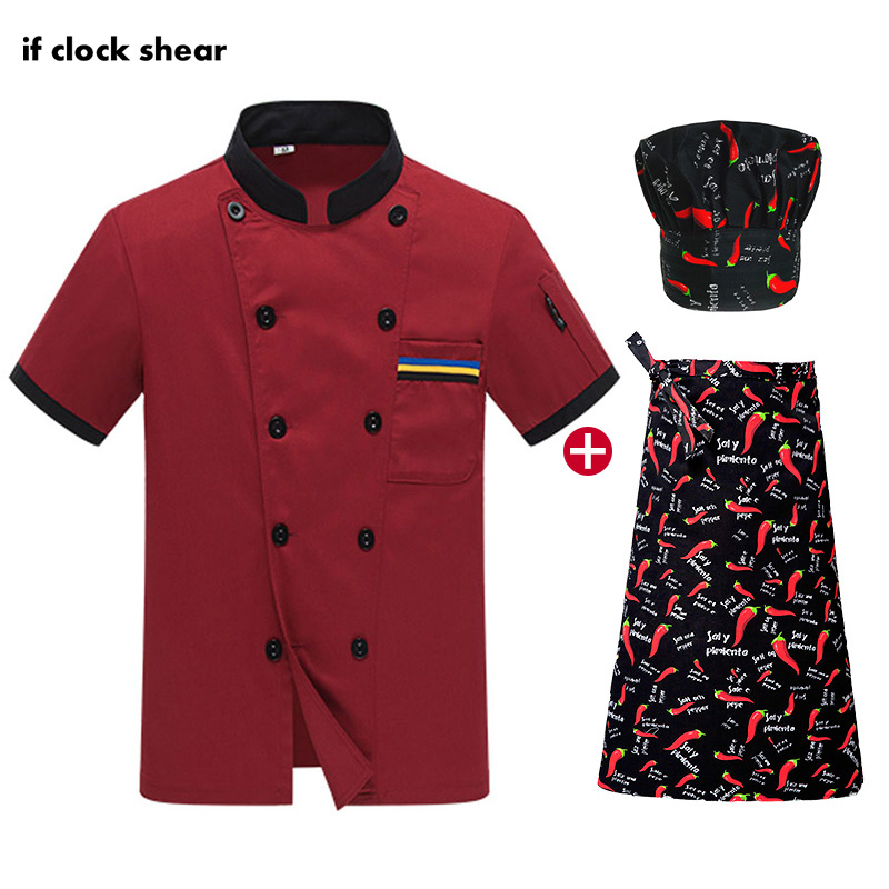 High Quality Unisex Chef Restaurant Uniform Catering Work Clothes Black Chef Jackets Kitchen Short Sleeved Cooker Shirt Uniform