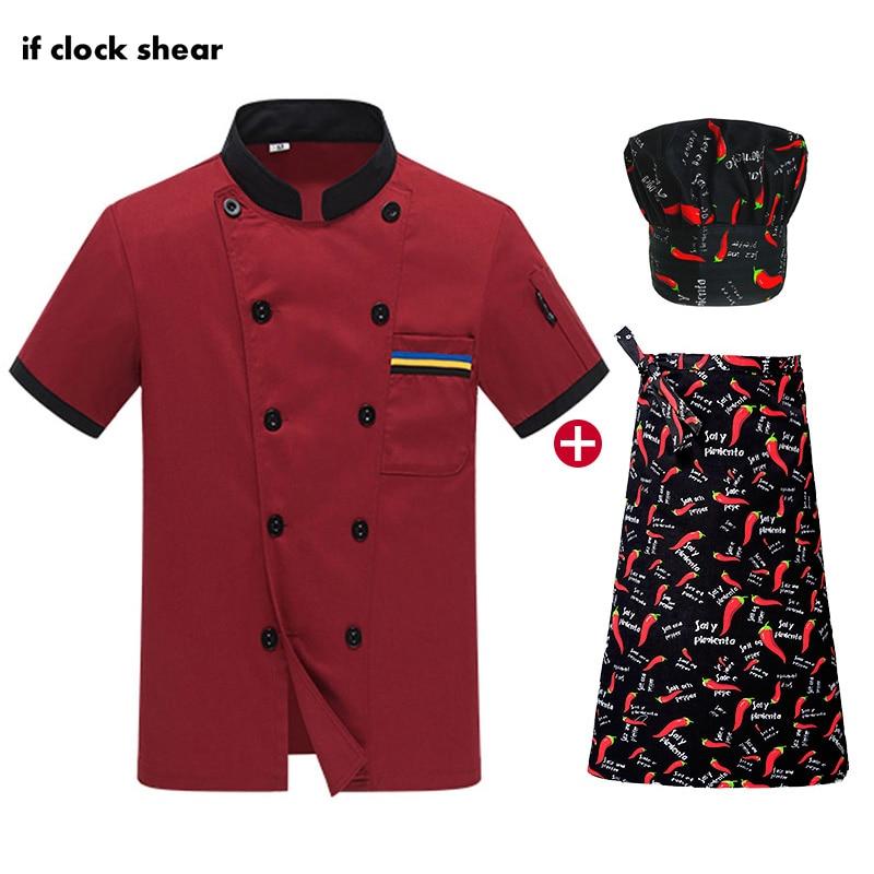 High Quality Unisex Chef Restaurant Uniform Catering Work Clothes Black Chef Jackets Kitchen Short Sleeved Cooker Shirt Uniform