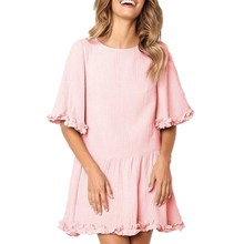 New Arrival Lace Hem Loose Half Sleeve Solid Mini Dress Casual O Neck Women Spring Summer Dresses Fashion pink dress Short Dress b s123 new fashion spring girls elegant dresses summer short sleeve princess dress 5 14t teenager kids solid color lace dress