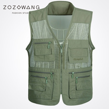Zozowang Multi-pocket new V-neck zipper spring summer autumn loose fashion mesh waist coat men solid plus size 4XL vest