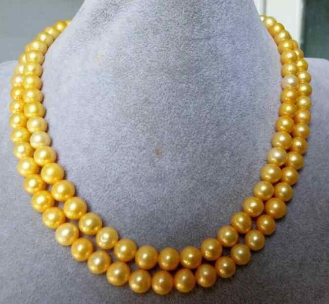 """Очаровательное 8-9 мм AAA круглое натуральное золотое ожерелье с жемчугом 35 """"50"""" желтая застежка"""