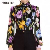 Для женщин Винтаж Цветочный принт блузки высокое качество Для женщин шелковая блузка 2018 Для женщин шелковая блузка рубашка