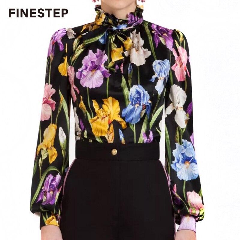 Donne Vintage Floral Camicette di Stampa di Alta Qualità Delle Donne Di Seta Camicetta 2018 Delle Donne di Seta Della Camicia Camicetta