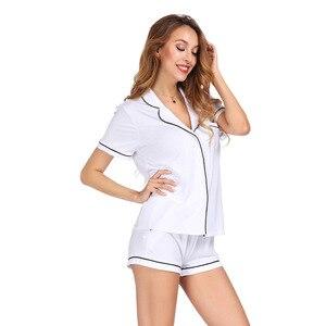 Image 4 - לבן צבע בית חליפת סט קצר שרוול עם מכנסיים פיג מה סט שני Pcs קיץ מזדמן סגנון 2019 פיג מה Mujer Verano