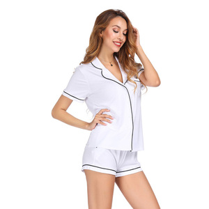 Image 4 - White Color Home Suit Set Short Sleeve With Shorts Pajamas Set Two Pcs Summer Casual Style 2019 Pijama Mujer Verano