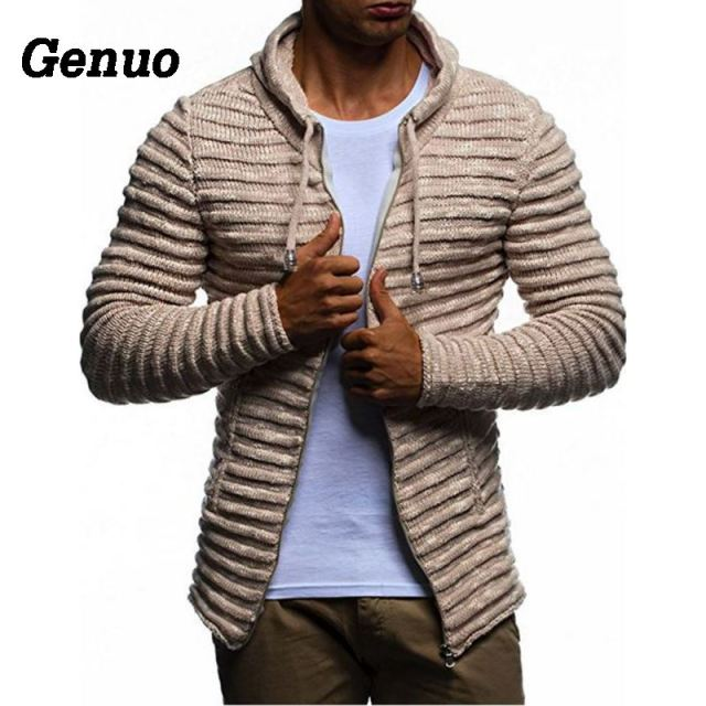 Genuo Winter Coat Men Casual Sweater Cardigan Slim Fashion Mens Stripe Zip-up Hooded Warm Turtleneck Men's Sweater Pull Homme