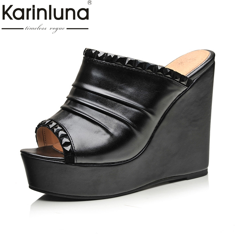 Karinluna Women's Rhinestone Decoration High Heel Wedge Summer Shoes Woman Open Toe Platform Slippers Big Size 32 43-in Slippers from Shoes    1