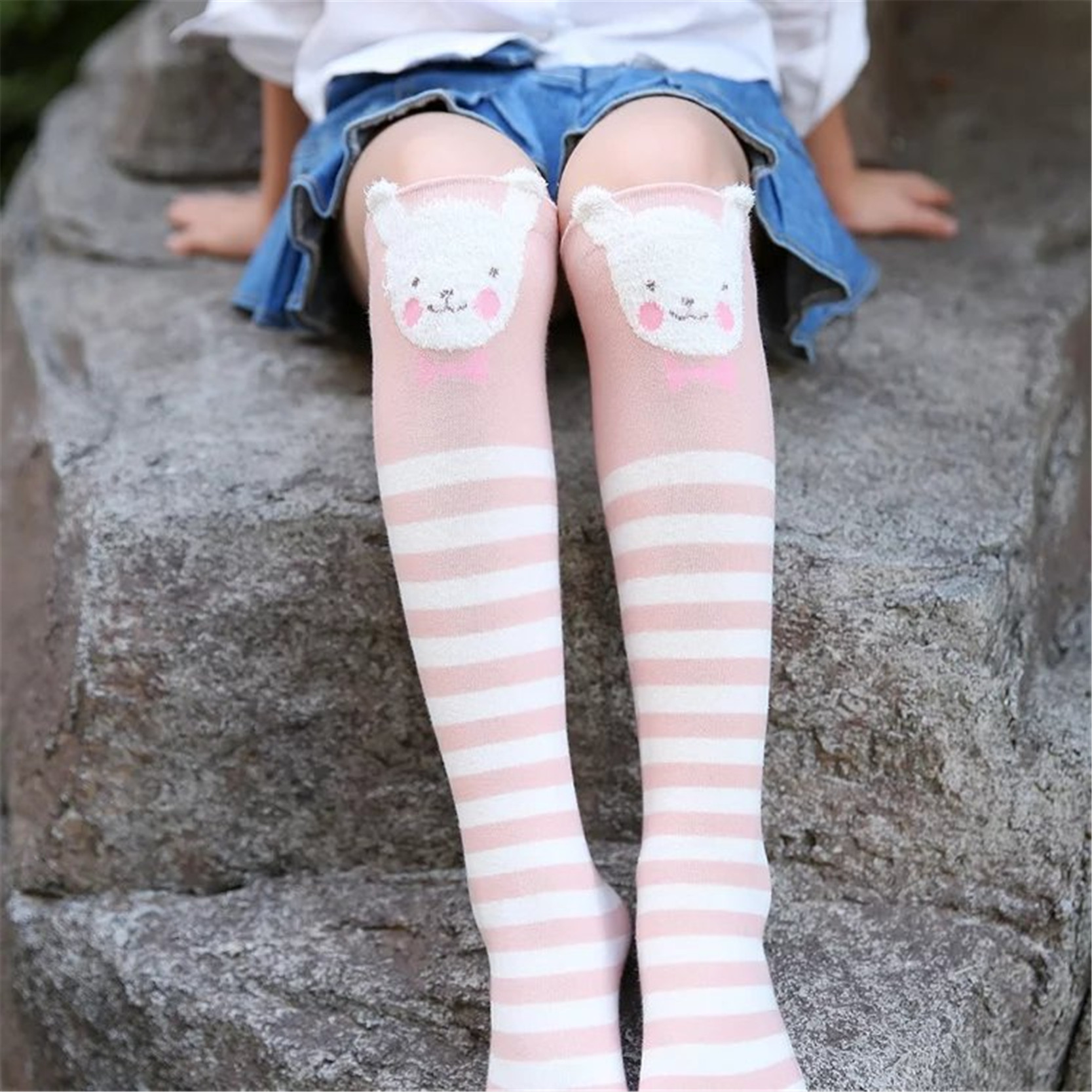 Cotton Knee High Socks For Kids Girl Print Cute Panda Cat Fox Cartoon Long Socks Children Winter Boot Socks Striped худи print bar panda santa
