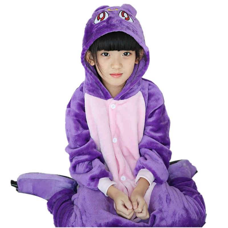 Adorable Purple Cat Kids Kigurumi Pajamas Baby One-Piece Flannel Onesie Cartoon Warm Animal Children Jumpsuit Winter Sleepwear (2)
