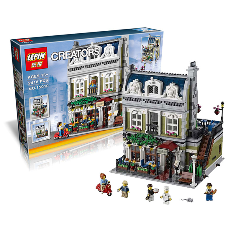 CX 15010 2418Pcs  Model building kits Compatible with Lego 10243 City Street Parisian Restaurant 3DBrick figure toy for children dhl new 2418pcs lepin 15010 city street parisian restaurant model building blocks bricks intelligence toys compatible with 10243