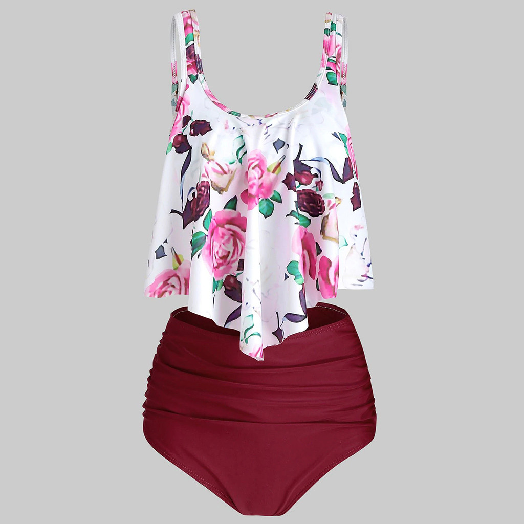 ISHOWTIENDA Two Piece Suits Plus Size Swimwear Women Tankini Sets Push Up High Waisted Swimsuit Women's Swimming Suit Mayo #515