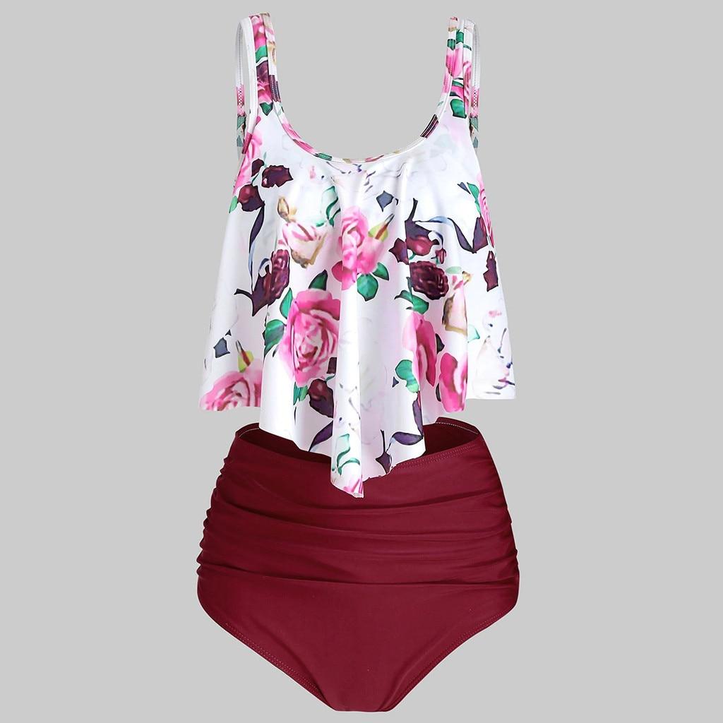 ISHOWTIENDA Two Piece Suits Plus Size Swimwear Women Tankini Sets Push Up High Waisted Swimsuit Women's Swimming Suit Mayo #515
