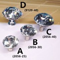 Dia. 25mm/30mm/40mm crystal zinc alloy single knob furniture pulls for doors cabinets cupboards decorative handles