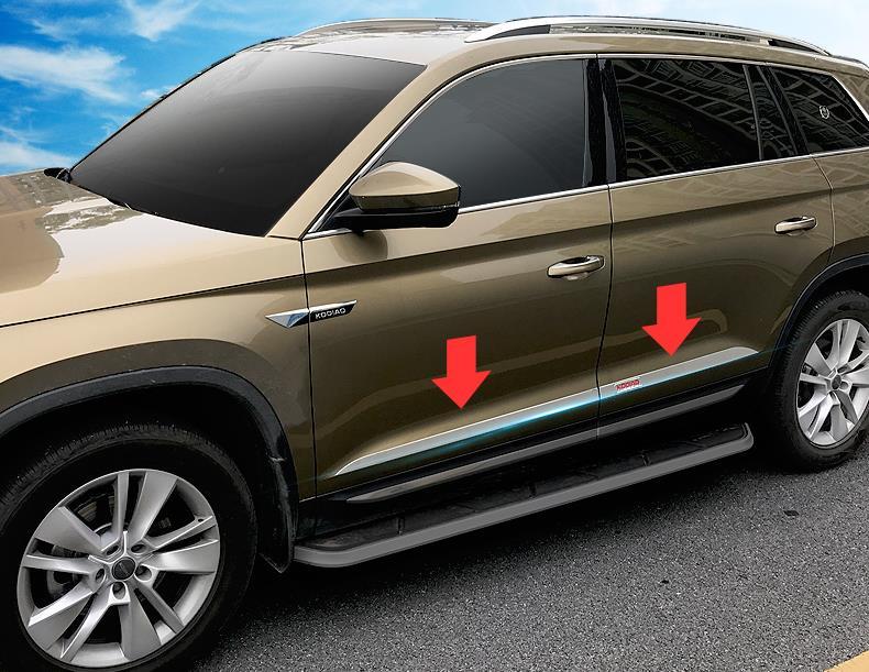 For 2017 2018 Skoda Kodiaq Special Refit Car Door Body Side Protector Decoration Rear Trim Anti-rub Tirm