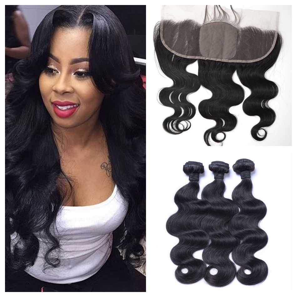 13X4 Ear To Ear Lace Frontal Closure With Bundles Virgin Brazilian Body Wave Human Hair Lace Frontal With Baby Hair