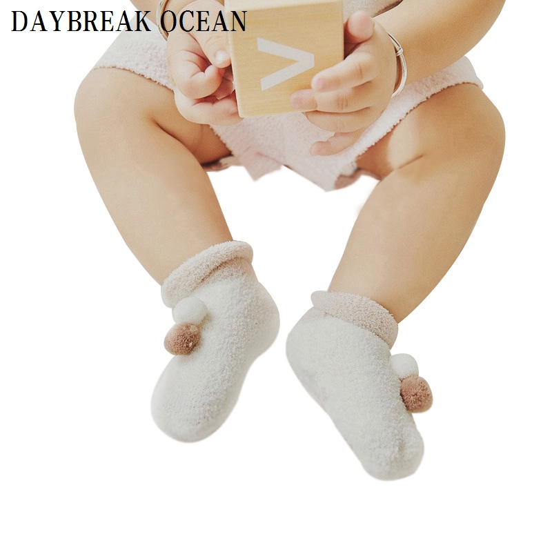 2017 New Styles Newborns Baby Non-Slip Dispensing 0-12M Soft Feather Yarn Warm Socks For Toddler Autumn Winter Kids Infant Socks