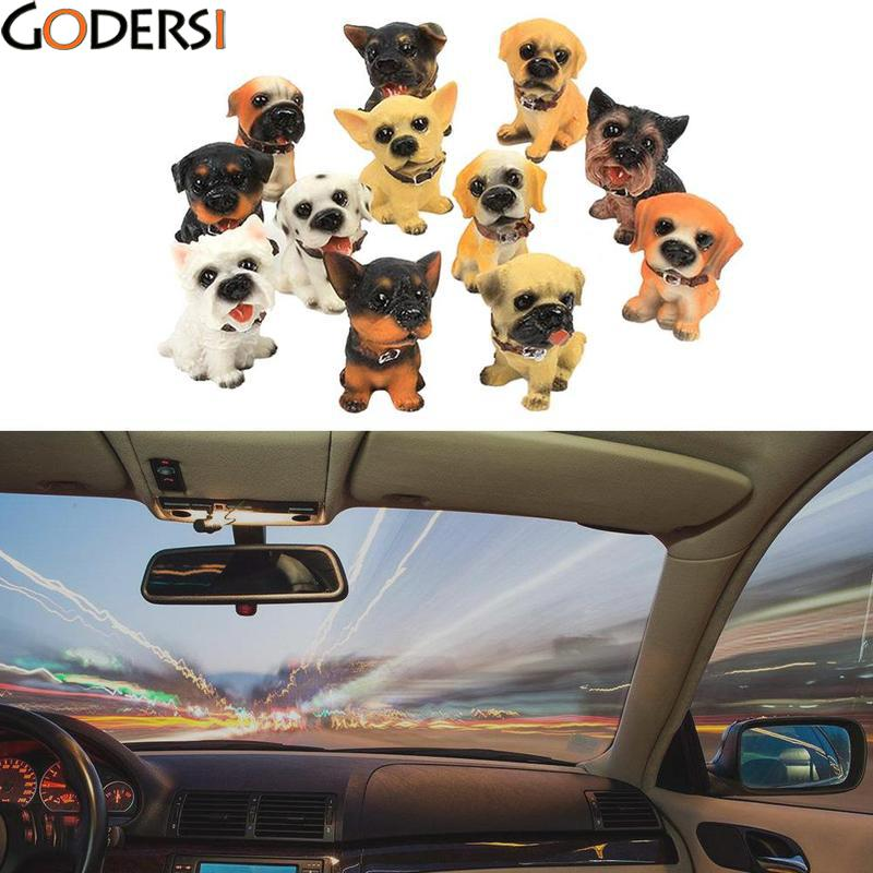 12PCS/Set Cute Shaking Head Resin Dog Puppy Figurines Automobile Car Dashboard Ornaments Toys Home Furnishing Decoration Gifts the walking dead action figure zombie figures head resin crystal car ornament home desk decoration furnishing articles