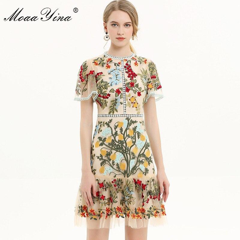 MoaaYina Fashion Designer Runway dress Spring Summer Women Dress Flare Sleeve Floral Mesh Embroidery Slim Elegant Dresses