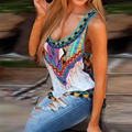 Primavera verão 2016 New Vintage impresso regatas mulheres O pescoço sem mangas casuais solta t-shirt Sexy Ladies Vest 00293