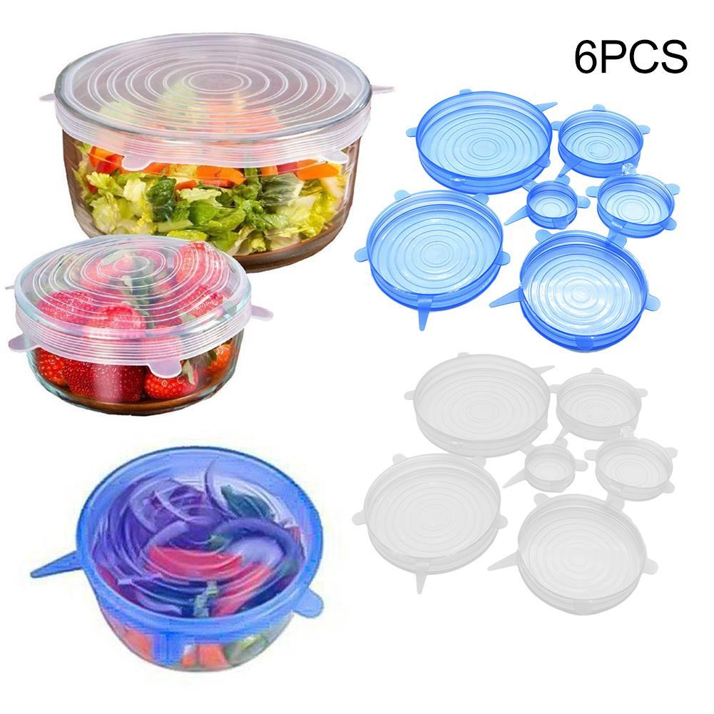 6 uds tapas de silicona tapas universales comida fruta Wrap Bowl Pot funda para tapa de silicona Pan utensilios de cocina tapa silicona elastica para ali