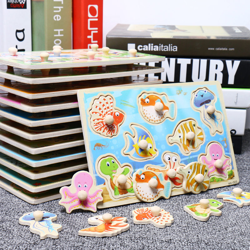 Baby Toys Montessori Wooden Puzzle Cartoon Vehicle Marine Animal Puzzle 12 Styles Board Set Educational Wooden Toy Child Gifts