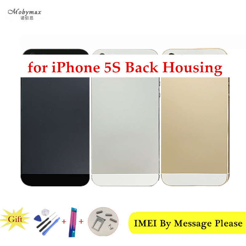 Fundas for iPhone 5S A1457 A1533 A1530 Back Housing Battery Middle Chassis Cover Coque+LOGO&Buttons&Sim Tray+Sticker+Custom IMEI