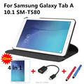 360 Вращающийся Личи кожи PU Кожаный чехол капа пункт для Samsung Galaxy Tab A 10.1 T580 T585 Tablet PC обложка + пленка + стилус + OTG