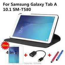 360 Giratoria Litchi PU de la piel cubierta de Cuero de la capa para para samsung galaxy tab a 10.1 t580 t585 tablet pc cover + film + stylus + OTG