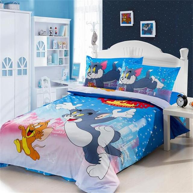 Tom And Jerry Bedding Set 100% Cotton Duvet Cover Single Bed Sheets  Pillowcase Cartoon Mouse