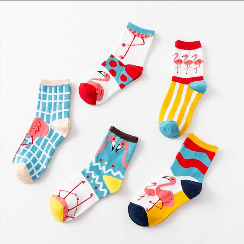 Hot Selling Women Cartoon Flamingos Patterned Cute Socks Cotton One Set 5 Paris Cheap Hipster Women Harajuku Funny Flamingo Sox