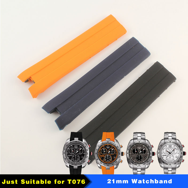 21mm (Buckle20mm)  Black Blue Orange Silicone rubber Strap T076417 Watch band for T076 man t rrce expert black silicone rubber strap t048 watch band for t048417a 21mm