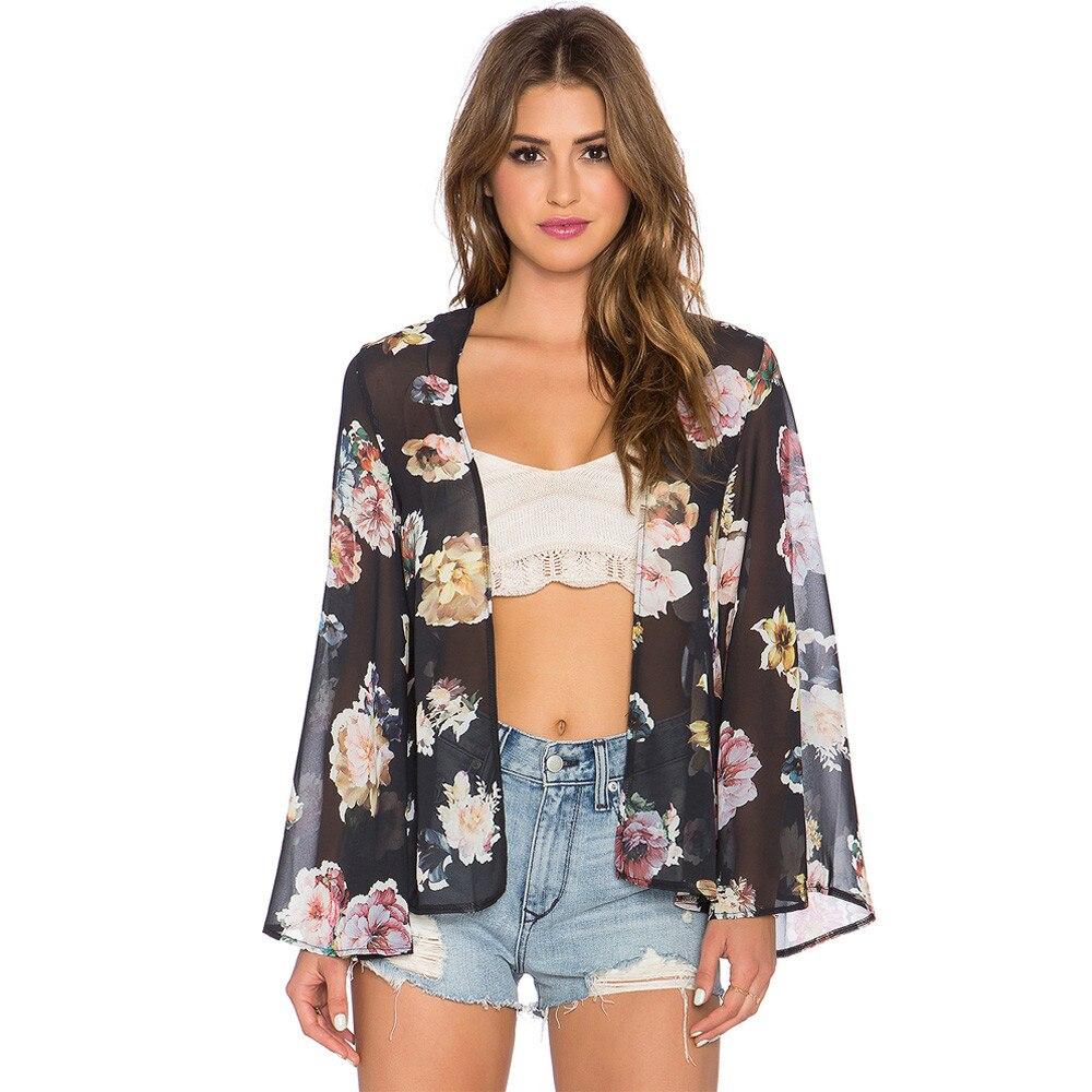 Sali 2017 Women Shirt Das Mulheres Mujeres Floral Printed Chiffon Shawl Kimono Cardigan Cover Up Blouse Tops&Tees Summer Cloth