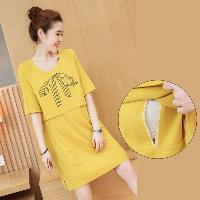 Maternity Dress Summer Short Sleeve Breastfeeding Dresses Nursing Clothes For Pregnant Women Causual Pregnancy Clothing B0389