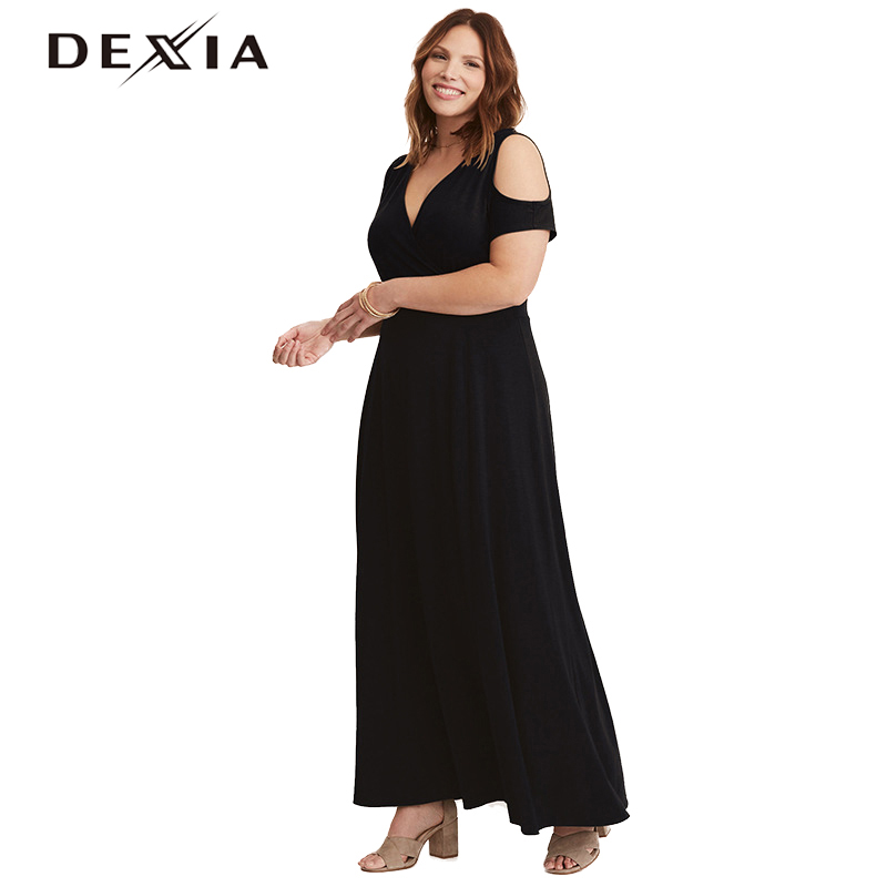 DEXIA 2018 Women Big Size Dress V-Neck Short Sleeve Black Long Dresses Casual Loose Party Ankle-Length Vestido Sexy Cloth 170172