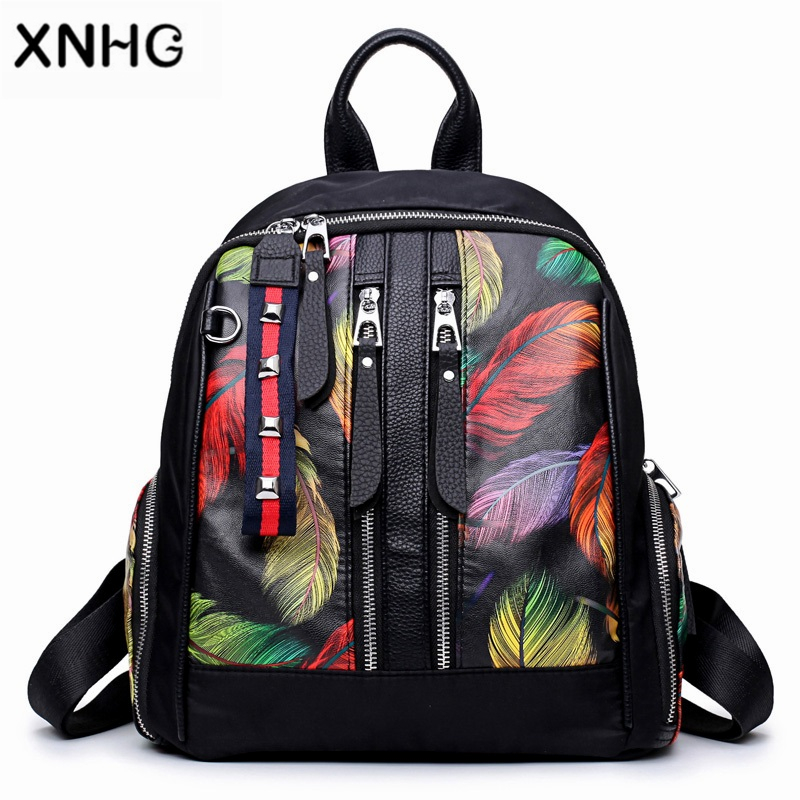 Fashion Laptop Anti Theft Leather Printing Backpack Female School Bags For Teenage Girls Mini Mochila Floral Bag Pack For Women
