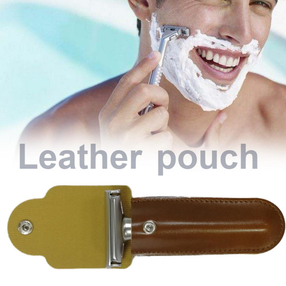 Safety Manual Shaver Shaving Razor Holder Bag Pure Cowhide Classic Double Edge Shaving Leather Pouch Razor Bag Storage Case