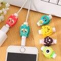 10 unids/lote Lateral Doble de Dibujos Animados USB Cable Protector Auricular auriculares línea de protección protector Para El cable de datos de línea de carga del teléfono