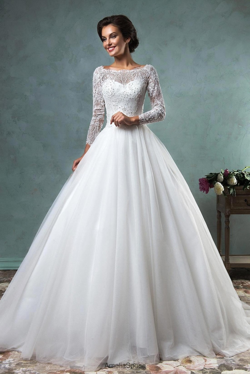 Compare prices on long sleeve wedding gowns online for Wedding dress with prices