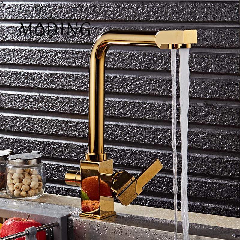 MODING Gold Silver Swivel Square 100 Brass Drinking Water Faucet 3 Way Water Filter Purifier Kitchen