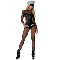 New Halloween Cop Cosplay Clothing With Hat Handcuffs Police Role Playing Jumpsuit Body Stockings Vinyl Women Sexy Costume