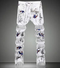 Fashion New Magpie Painting Print Denim Trousers Fashion Slim White Jeans