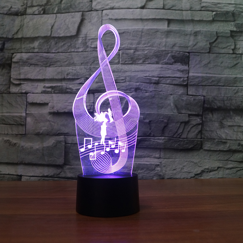Music Notation Lamp 3D Night Light Kids Toy LED 3D Touch Table Lamp 7 Colors Flashing LED Light Christmas Decorations For Home