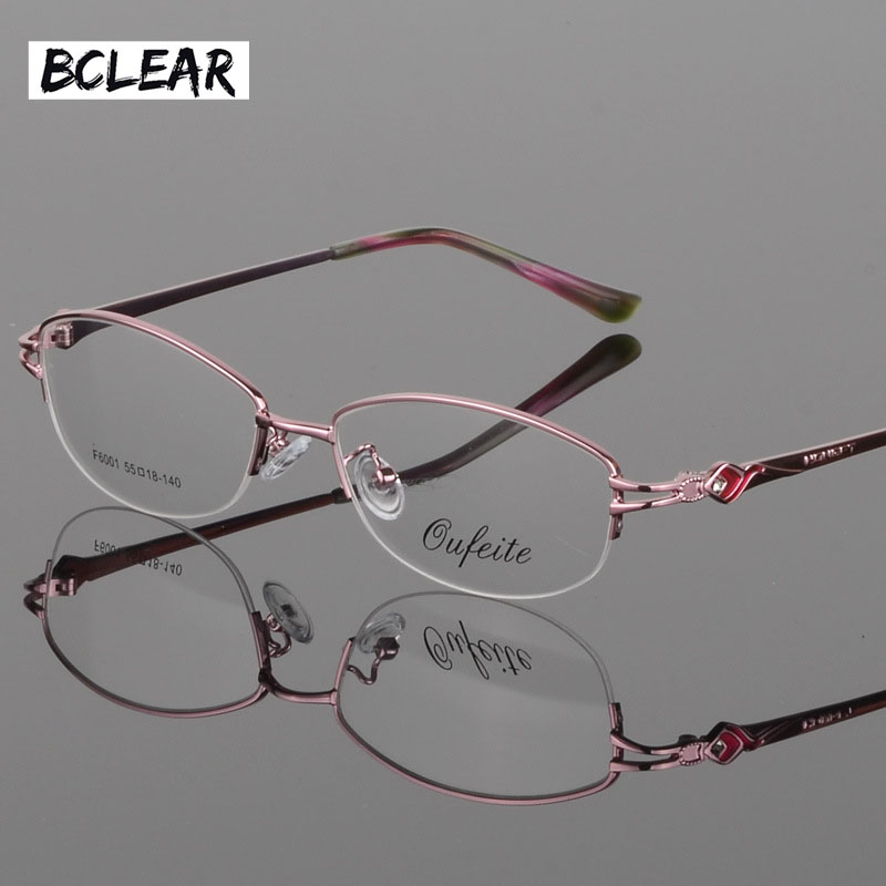 BCLEAR Vintage Women Eyeglass Metal Frame Glasses Half Rim Spectacles Clear Lens Optical Diamond oculos de grau feminino armacao