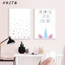 NDITB Kawaii Unicorn Wall Art Canvas Painting Cartoon Minimalist Posters Nursery Prints Nordic Style Kids Decoration Pictures