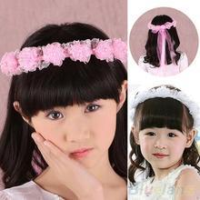 Hot Girl Children Faux Pearls Lace Ribbon Floral Flower Wedding Hairband Headband  22GZ