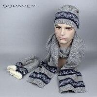 2017 New Autumn Winter Scarf Hat & Glove Sets Wool Men's Hats Scarves Gloves three - piece Warm High Quality Men Knitted Cap