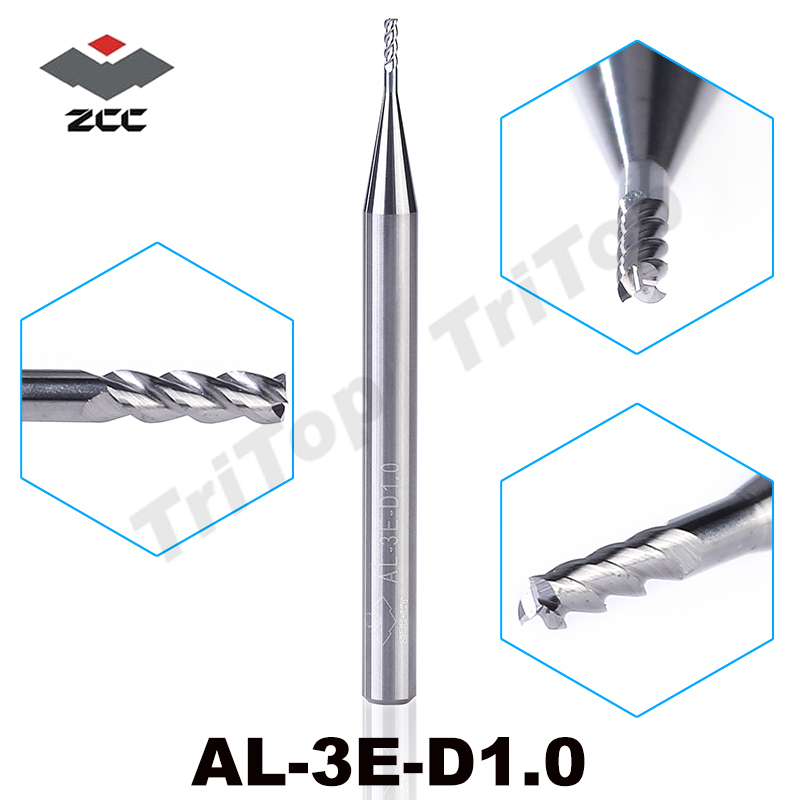 5pcs/lot  High Precision Machining ZCC.CT AL-3E-D1.0 Solid Carbide 3 Flute Flattened 1mm End Mill With Straight Shank