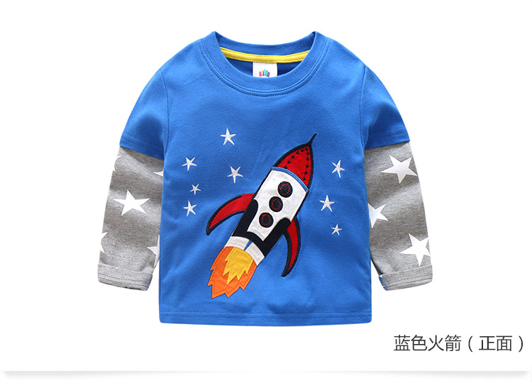2018 Spring Autumn For 2-9 10 Years Children Cotton Striped Patchwork Cartoon Car Bus Truck Baby Kids Boys Long Sleeve T Shirts (47)