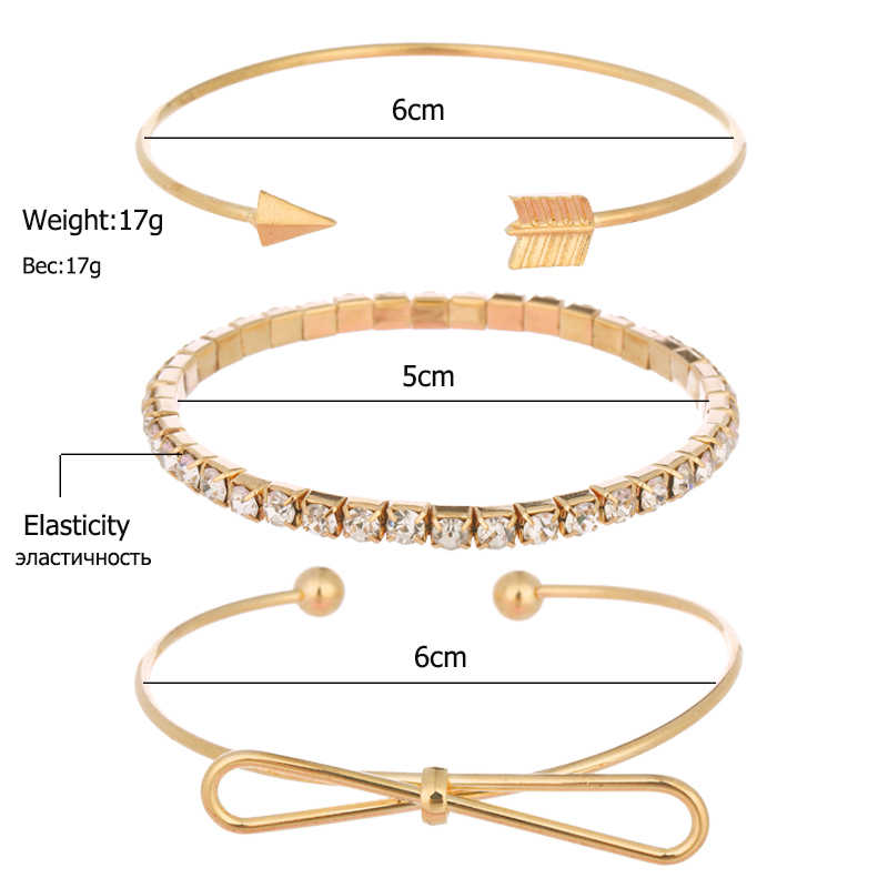 Hot Sale Simple Bow Knot Metal Bracelet Fashion Arrow Wristband Multiple Combination Sets Statement Jewelry For Women2019