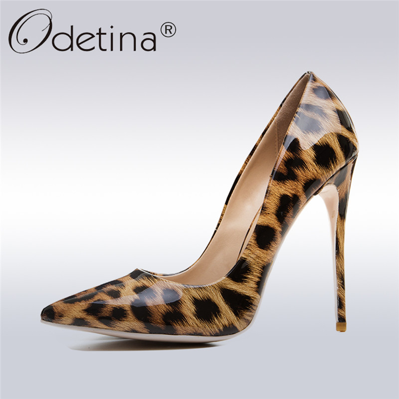 Odetina 2018 Fashion Sexy Leopard High Heels Women Pointed Toe Pumps Stiletto Heel Sexy Club Party Shoes For Ladies Big Size 43 odetina 2017 new women 12 cm gradient heels slip on extreme high heel stiletto pumps sexy party shoes pointed toe big size 33 43